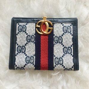 Gucci vintage GG monogram navy wallet